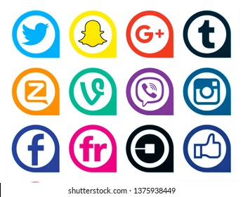 Kiev, Ukraine - April 18, 2019: Set of most popular social media icons: Instagram, Tumblr, Google Plus, Snapchat, Twitter, Zello, Vine, Viber, Facebook, Flickr, Uber printed on paper.