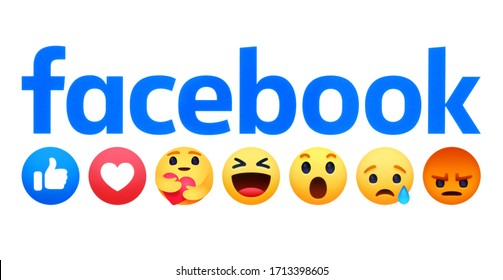 Kiev, Ukraine - April 18, 2020: Facebook logo with new like button Empathetic Emoji Reactions, printed on white paper. Facebook is adding a hug reaction to show you care during the COVID-19 pandemic
