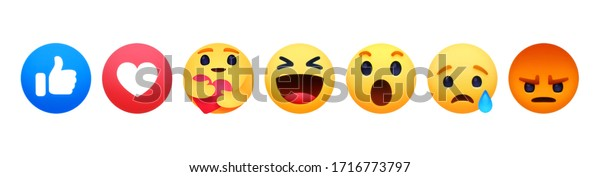 Kiev, Ukraine - April 18, 2020: Facebook like button Empathetic Emoji Reactions with New Care Reaction, printed on paper. Facebook is adding hug reaction to show care during the COVID-19 pandemic