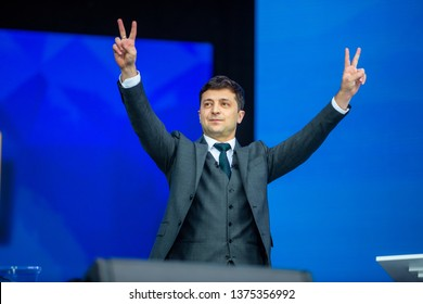 Kiev, Ukraine April 19, 2019: Debates at Olympic Stadium between President of Ukraine and Candidate Petro Poroshenko and Presidential Candidate Vladimir Zelensky. Political debates at stadium