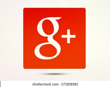 KIEV, UKRAINE - APRIL 20, 2015:Google plus logotype  sign on pc sign. Google plus - social network from Google, which provides the ability to communicate via the Internet.