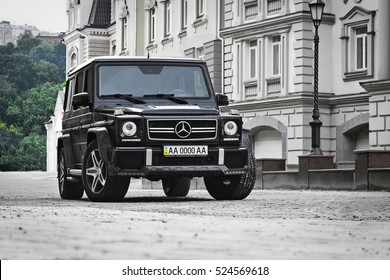 Kiev, Ukraine; April 21, 2015. Mercedes-Benz G 55 AMG. Speedway. Speed. expensive. Car. Karbon. Race. Luxurious. Tuning. SUV. Supercar. Editorial photo.