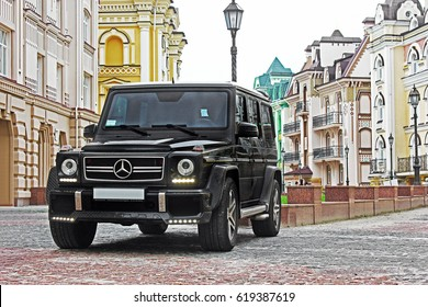Kiev - Ukraine; April 21, 2015. Editorial photo. Mercedes-Benz G63 AMG in the old town. Powerful SUV.