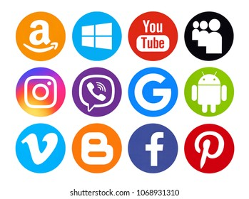 Kiev, Ukraine - April  21, 2017: Set of popular social media icons printed on white paper: Facebook, Youtube, Instagram, Amazon, Windows10, Viber, Google, Vimeo, Blogger, MySpace, Android, Pinterest.