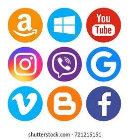 Kiev, Ukraine - April  21, 2017: Set of popular social media icons printed on white paper: Facebook, Youtube, Instagram, Amazon, Windows10, Viber, Google, Vimeo, Blogger.