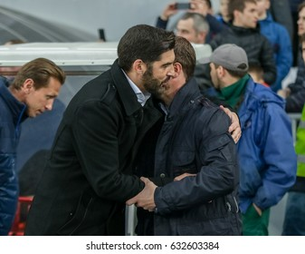KIEV, UKRAINE - APRIL, 21 - 2017:Pre-match greetings of the main coaches of the teams Dynamo (Sergei Rebrov) and Shakhtar (Paolo Fonseca) during the Ukrainian Premier League at the NSC Olympic Stadium