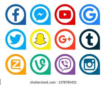 Kiev, Ukraine - April 22, 2019: Set of most popular social media icons: Facebook, Instagram, Tumblr, Google Plus, YouTube,  Snapchat, Twitter, Messenger, Zello, Vine, Viber, Google printed on paper.