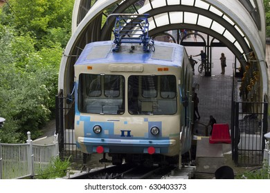 Kiev, Ukraine - April 22: The funicular descends. Postal square, on April 22, 2017 in Kiev, Ukraine