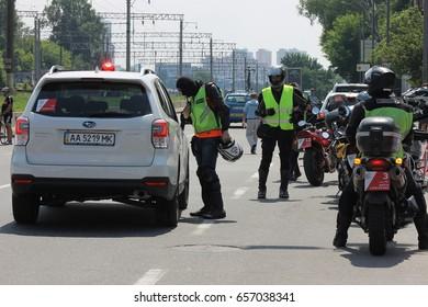 Kiev, Ukraine - April 22: Police in the performance of duties, on April 22, 2017 in Kiev, Ukraine