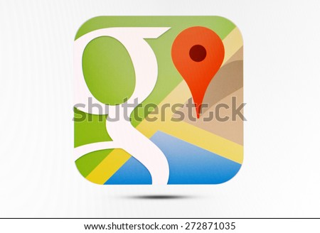 KIEV, UKRAINE - APRIL 23, 2015: Google Maps  logo sign on pc sign. Google Maps a set of applications  map service and technology provided by the company Google.