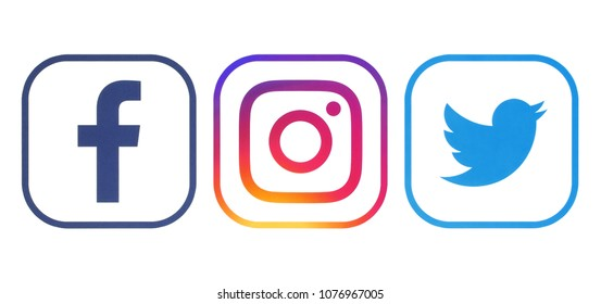 Kiev, Ukraine - April 23, 2018: Facebook, Twitter and Instagram logos printed on white paper