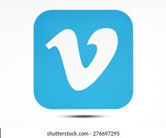 KIEV, UKRAINE - APRIL 24, 2015:Vimeo logotype  on pc screen. Vimeo is a video-sharing website.