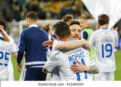 KIEV, UKRAINE - APRIL 24, 2016: Players of Dynamo Kiev celebrating a victory in the championship after the winning match Ukrainian Premier League against Vorskla Poltava at NSC Stadium Olimpiyskiy