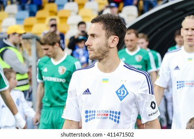 KIEV, UKRAINE - APRIL 24, 2016: Serhiy Rybalka of Dynamo Kiev goes on the field before the match Ukrainian Premier League against Vorskla Poltava at NSC Olympiysky stadium