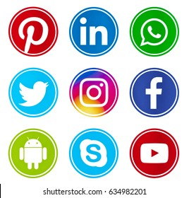 Kiev, Ukraine - April  24, 2017: Set of popular social media icons printed on white paper: Facebook, Youtube, Instagram, Android, Pinterest, Skype, WhatsApp, Twitter, Linkedin.
