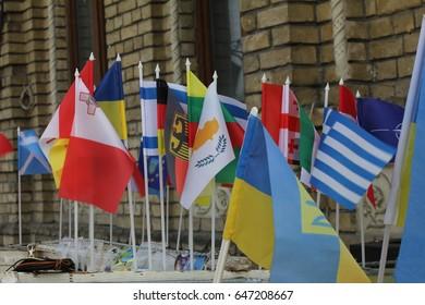 Kiev, Ukraine - April 24:Flags of Ukraine, Cyprus, France, Canada, England, Bulgaria, Czech Republic, European Union, Italy, and other countries, on April 24, 2017 in Kiev, Ukraine