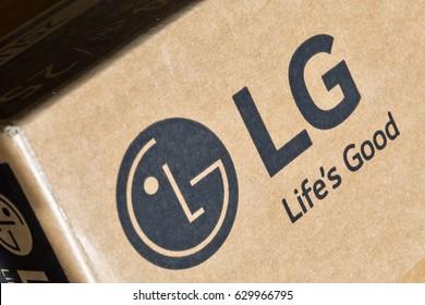 KIEV, UKRAINE - APRIL 27, 2017: LG company logo on display carton box closeup. LG is a South Korean multinational conglomerate corporation.