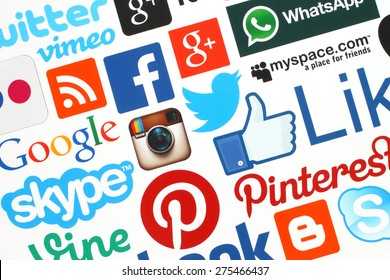 KIEV, UKRAINE - APRIL 28, 2015:Collection of popular social media logos printed on paper:Facebook, Twitter, Google Plus, Instagram, Skype, WhatsApp, Pinterest, Blogger and others on white background