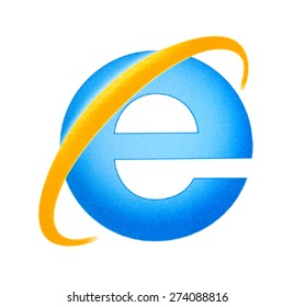 KIEV, UKRAINE - APRIL 29, 2015:  Microsoft Internet Explorer logo printed on paper and placed on white background.  Internet Explorer browser software, develop Microsoft Corporation from 1995 to 2015.