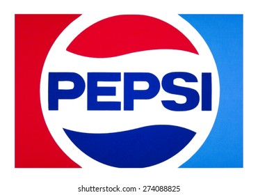 KIEV, UKRAINE - APRIL 29, 2015: Pepsi logo printed on paper and placed on white background. non-alcoholic soft drink sold worldwide.