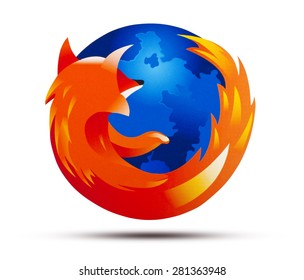 KIEV, UKRAINE - APRIL 29, 2015: Firefox logotype printed on paper. Firefox operating system for smart phones and tablet computers.