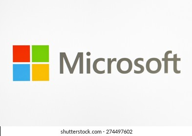 KIEV, UKRAINE - APRIL 30, 2015:  Microsoft logo  on pc screen.  Microsoft - one of the largest multinational companies in the production of proprietary software.
