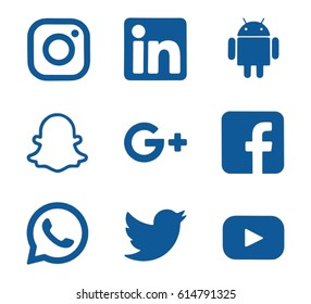 Kiev, Ukraine - April 4, 2017: Collection of popular social media logos printed on paper: Facebook, Twitter, Google Plus, Instagram, LinkedIn, YouTube and others.