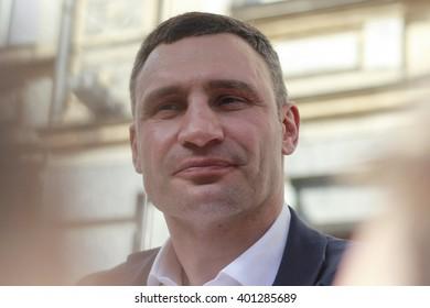 "KIEV, UKRAINE - April 5, 2016: Kyiv Mayor Vitali Klichko took part in the presentation of ""autonomous intelligent mobile stop"""