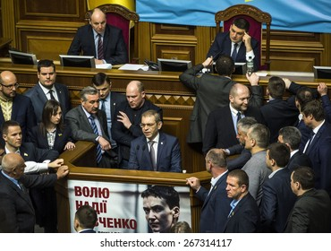KIEV, UKRAINE - April 7, 2015: The representatives who spoke the Bloc Poroshenko deputy Sergei Pashinsky.