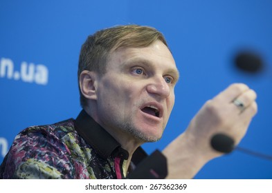 KIEV, UKRAINE - APRIL, 7, 2015: Famous Ukrainian singer Oleh Skrypka (rock band Vopli Vidopliasova ) during press conference