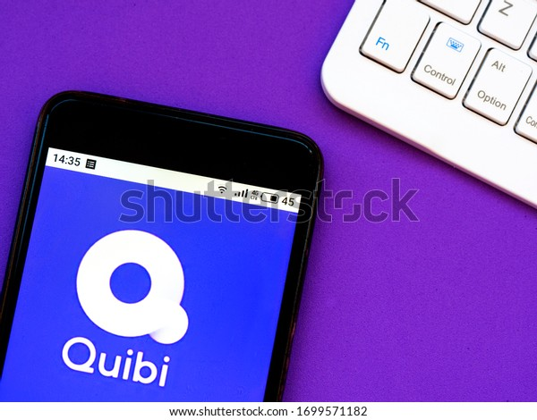 Kiev, Ukraine, April 7, 2020. Editorial illustrative.  In this photo illustration Quibi logo is seen displayed on a smartphone