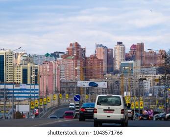Kiev, Ukraine - April,2011: road traffic in the Holosiivski avenu. City scape.