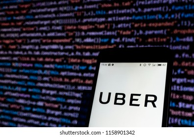 KIEV, UKRAINE - Aug. 17, 2018: Uber company logo seen displayed on smart phone.