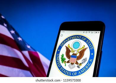 KIEV, UKRAINE - Aug. 19, 2018: Seal of United States Department of State seen displayed on smart phone.