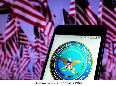 KIEV, UKRAINE - Aug. 19, 2018:  Seal of United States Department of Defense seen displayed on smart phone.
