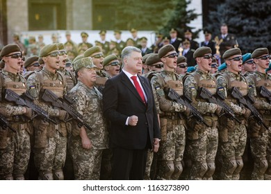 KIEV, UKRAINE - Aug 22, 2018: President of Ukraine Petro Poroshenko and soldiers of the Ukrainian army during the rehearsal of the military parade in Kiev
