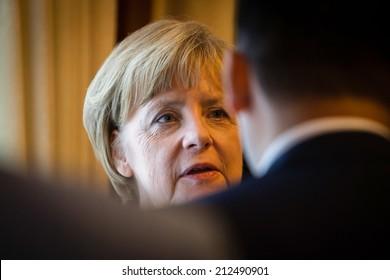 KIEV, UKRAINE - Aug 23, 2014:  Federal Chancellor of Germany Angela Merkel during a working visit to Ukraine