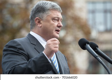 KIEV, UKRAINE - Aug 23, 2017: President of Ukraine Petro Poroshenko at the opening of the exhibition of arms and military equipment on Khreshchatyk, in Kiev