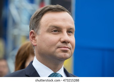 KIEV, UKRAINE - Aug 24, 2015: President of the Republic of Poland Andrzej Duda on the march of Independence on the occasion of 25th anniversary of Independence of Ukraine