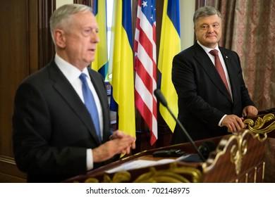 KIEV, UKRAINE - Aug 24, 2017: Meeting of Ukrainian President Petro Poroshenko and United States Secretary of Defense James Mattis.