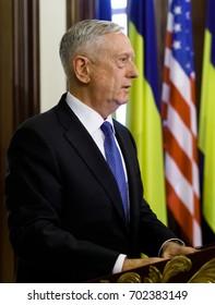 KIEV, UKRAINE - Aug 24, 2017: Meeting of US Secretary of Defense James Norman Mattis and Ukrainian President Petro Poroshenko
