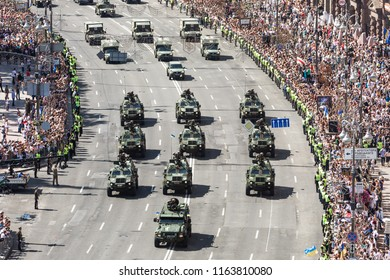KIEV, UKRAINE - Aug 24, 2018: Military parade in Kiev. Column of military equipment and army troops on the march on the occasion of Independence day of Ukraine