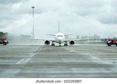 Kiev, Ukraine - Aug 28, 2014: The first flight of Fly Vista in Kiev. Flight Kiev-Tbilisi.