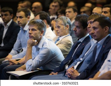 "KIEV, UKRAINE - Aug 28, 2015: People's deputies Mustafa Dzhemilev and Alexey Goncharenko during the extraordinary congress of the political party ""Block Poroshenko"" Solidarity """