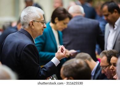 KIEV, UKRAINE - Aug 31, 2015: The session of the Verkhovna Rada of Ukraine in Kiev. People's deputies blocked the tribune and presidium of the Verkhovna Rada.