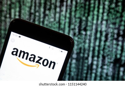 KIEV, UKRAINE - Aug. 5, 2018: The Amazon logo seen displayed on a smart phone. According to the New York Stock Exchange (NYSE), the company is on the second place at the market value  - $ 894.6 billio
