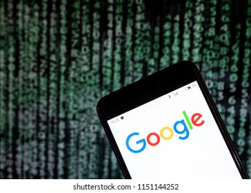 KIEV, UKRAINE - Aug. 5, 2018: The Google logo seen displayed on a smart phone. According to the New York Stock Exchange (NYSE), the Alpabet/Google is in third place at the market value