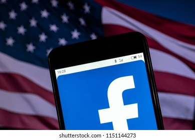 KIEV, UKRAINE - Aug. 5, 2018: The Facebook logo seen displayed on a smart phone. According to the New York Stock Exchange (NYSE), the company is on the fifth place at the market value $ 509.2 billion