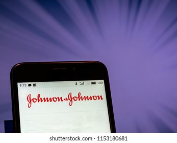 KIEV, UKRAINE - Aug. 9, 2018: Johnson and Johnson logo seen displayed on smart phone. According to the New York Stock Exchange (NYSE), company is on the fourth place at the market value $352 billion