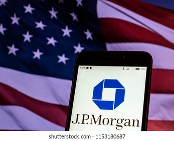 KIEV, UKRAINE - Aug. 9, 2018: JPMorgan Chase logo seen displayed on smart phone. According to the New York Stock Exchange (NYSE), the company is on the nineth place at the market value $390,3 billions